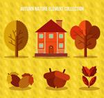 秋季植物和房屋