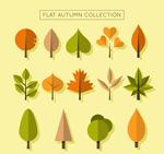 秋季树叶和树木
