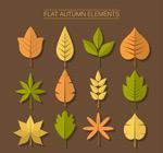 扁平化秋季叶子