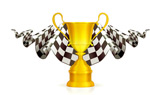 赛车奖杯与旗子