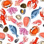 海鲜食物无缝背景