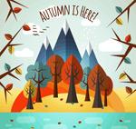 秋季雪山和树林
