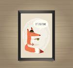 喝茶的狐狸挂画