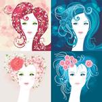 心形发型女性头像