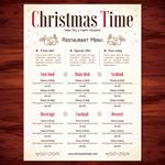 圣诞节餐厅菜单