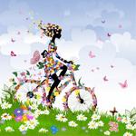 春季花朵自行车