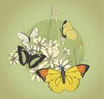 复古蝴蝶和花卉