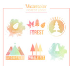水彩绘森林标志