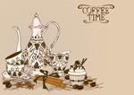 手绘茶壶和茶杯
