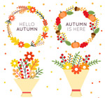 秋季花环和花束
