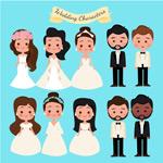 卡通新娘和新郎