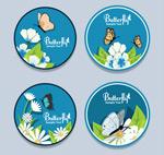 花卉和蝴蝶标签