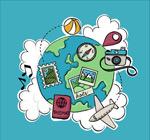 地球环球旅行元素