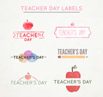 水彩绘教师节标签