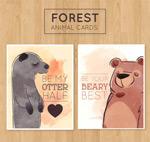 水彩绘动物卡片