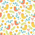 鸡和花卉背景