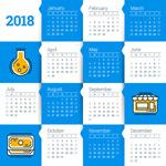 2018蓝白相间年历