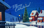 圣诞夜晚雪景