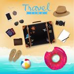 沙滩上的度假物品