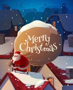 屋顶的圣诞老人