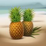 沙滩上的菠萝