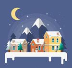 冬季山边建筑