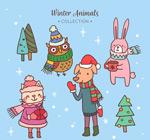 可爱冬装动物
