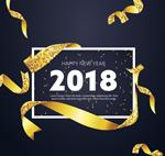 2018丝带新年贺卡