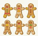 彩色圣诞姜饼人