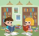 书房读书的孩子