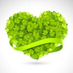 绿叶心形矢量