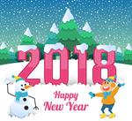 2018雪人男孩贺卡