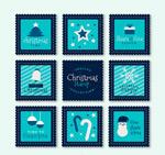蓝色圣诞节邮票