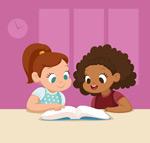 读书的女孩矢量