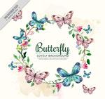 彩绘花环和蝴蝶