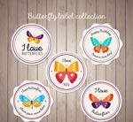 圆形彩色蝴蝶标签