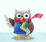 抱书的卡通猫头鹰