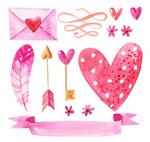 粉色爱心元素