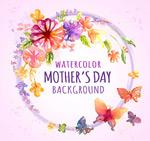 母亲节花环和蝴蝶