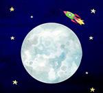 月球和火箭矢量图