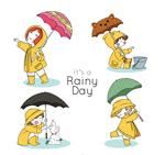 雨天打伞的儿童