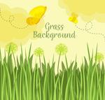 花丛和黄色蝴蝶
