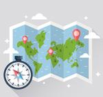 折页地图和指南针