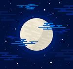 月亮蓝色夜空矢量