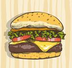彩绘美味汉堡包