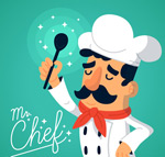 举勺子的男厨师