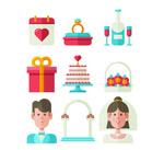 扁平化婚礼元素