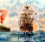 海上的海盗船矢量
