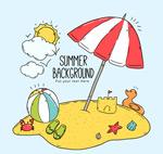 夏季度假沙滩矢量
