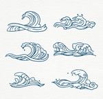 手绘蓝色海浪